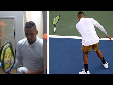 Nick Kyrgios melts down again as he unleashes tirade at umpire and smashes rackets during Cincinnati loss