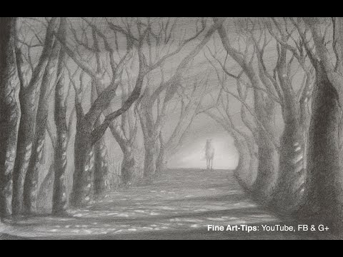 How to Draw a Road With Trees - Light and Shadow Path With Pencil
