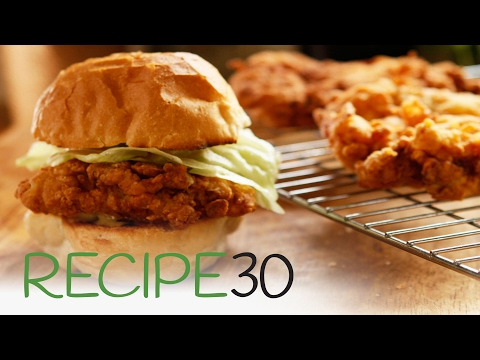 Simple Crispy Fried Chicken Burger - By RECIPE30.com