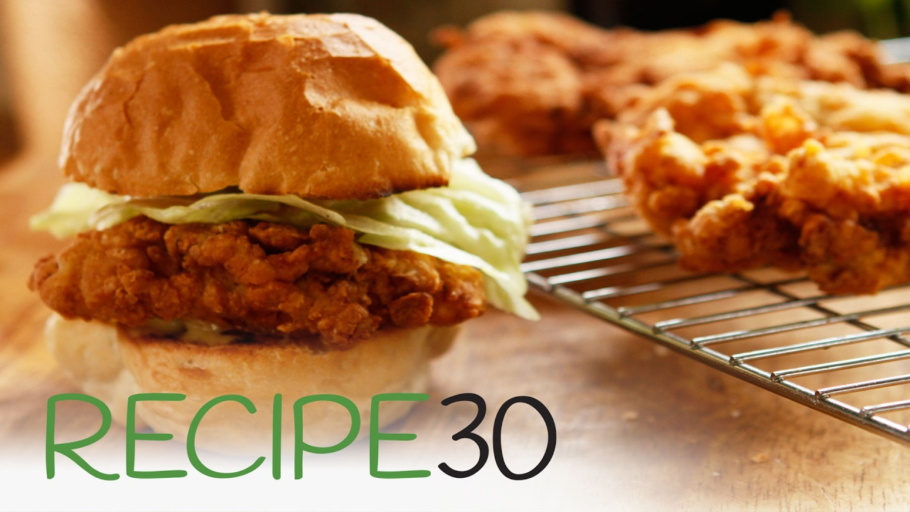 Simple Crispy Fried Chicken Burger By Recipe30 Com Youtube