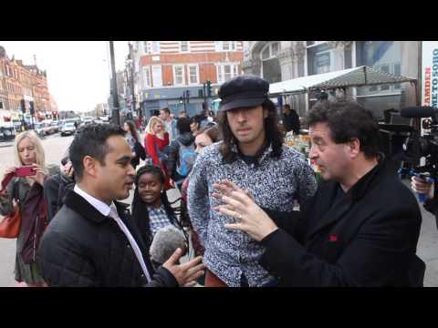 Camden New Journal: Cllr Abdul Hai ambushed by Mark Thomas during TV interview
