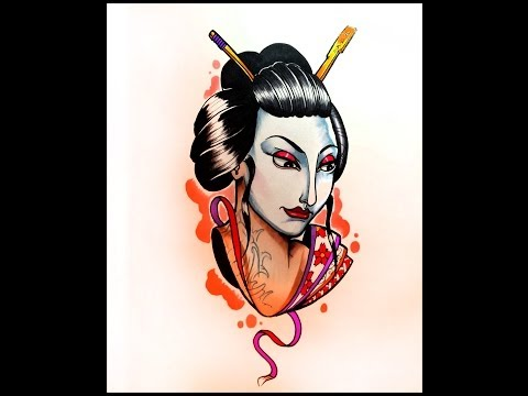 How to draw a Geisha Face By thebrokepuppet