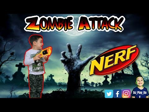 NERF BATTLE | DJ pretends to fight zombies with is Nerf guns || Tubers FunFam