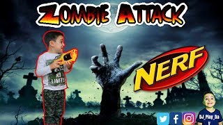 NERF BATTLE | DJ pretends to fight zombies with is Nerf guns.