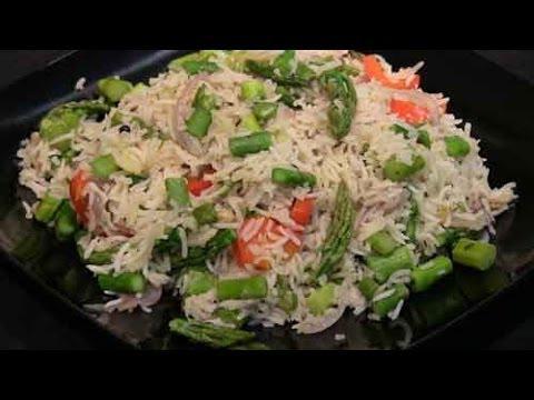 Garlic Asparagus Pulao | Show Me The Curry Vegetarian Recipe