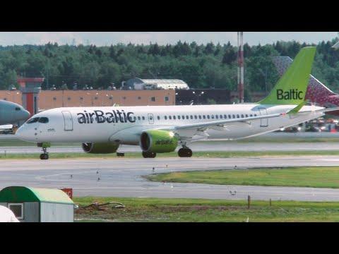 Не взлетел с первого раза, Airbus A220 Airbaltic. Шереметьево после дождя. Июнь  2019 #Planespotting