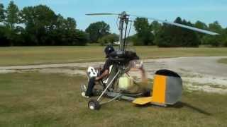 Ultralight Gyrocopter pre-rotator test & low speed taxi test.  Paul Csornok