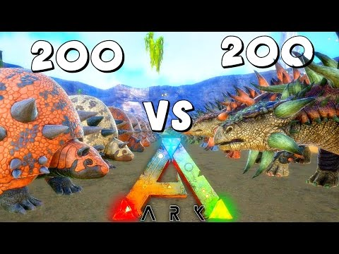 ARK Survival Evolved 200 Doedicurus VS 200 Ankylosaurus | Anky VS Doed ( Gameplay )