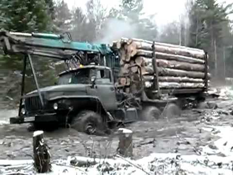 truck Ural 4320 timber runs hard off-road | лесовоз Урал жесть