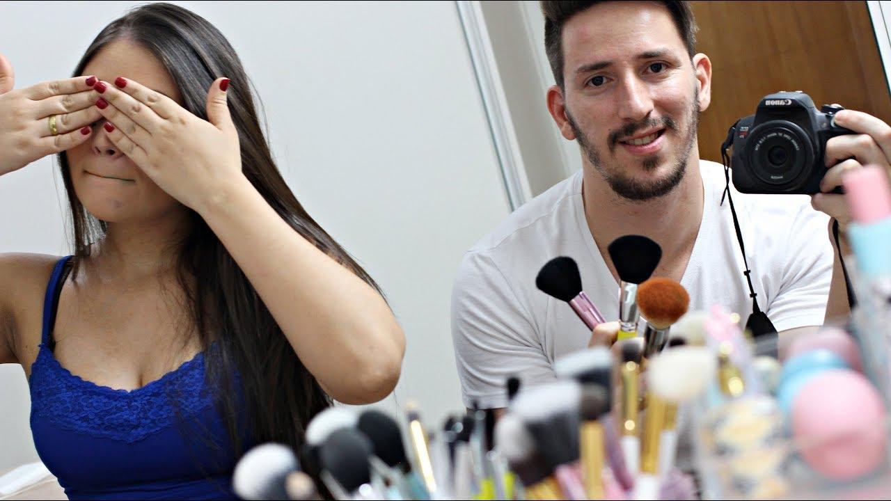 Anelise Pelada vlog - maridão me maquiando e fuçando nas makes ♥