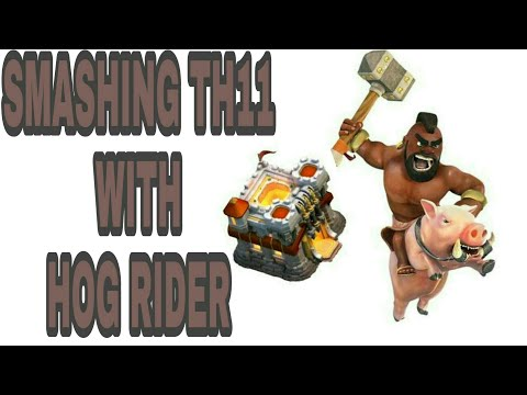 |TH11 ATTACK STRATEGY|SMASHING TH11 WITH HOG RIDERS|
