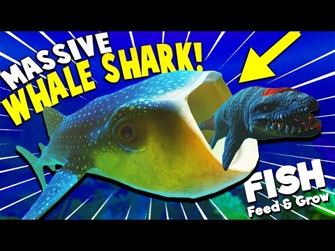 GIANT WHALE SHARK EATS MOSASAURUS WHOLE?! | Feed And Grow Fish Update Gameplay