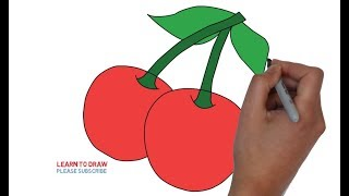 How To Draw a Cherry Step By Step Easy For Kids