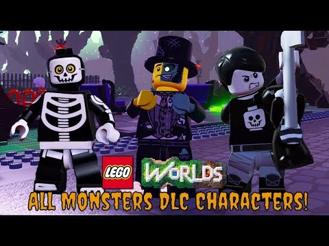 LEGO Worlds Monsters DLC - All Characters and Vehicles Unlocked!