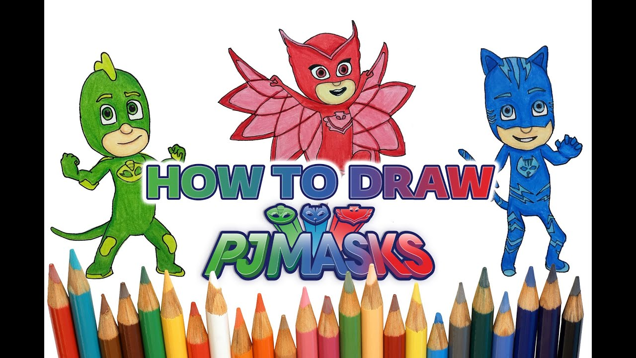 How To Draw And Color All PJ MASKS Characters   CATBOY, OWLETTE U0026 GEKKO  (Time Lapse)