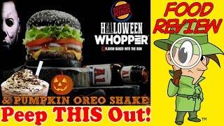 Burger King® | Black Bun A.1 Halloween Whopper® & Pumpkin Spice Oreo™ Shake Review! Peep This Out!
