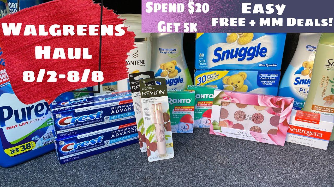 WALGREENS HAUL 8/2-8/8 SPEND $20 GET 5k & MORE! FREE & SUPER CHEAP DEALS!