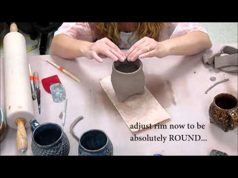 How to make a Tripod Textured Slab Cup!  (Ceramics II classes)