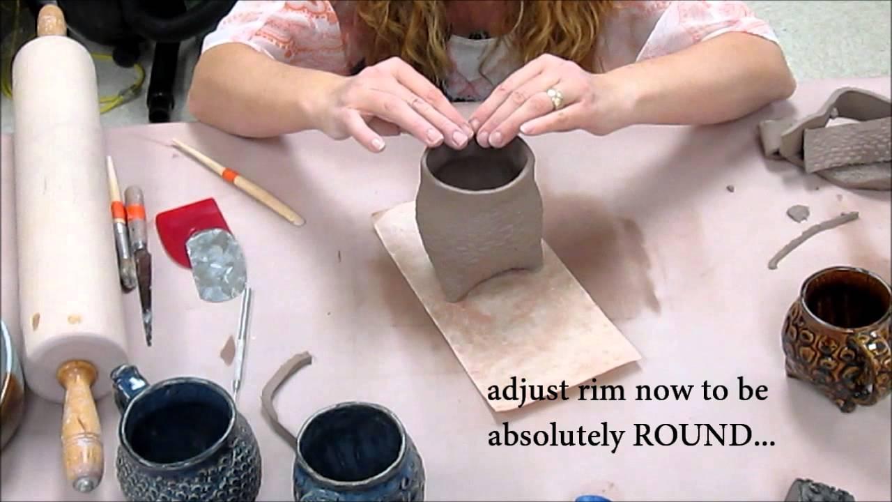 How To Make A Tripod Textured Slab Cup Ceramics Ii
