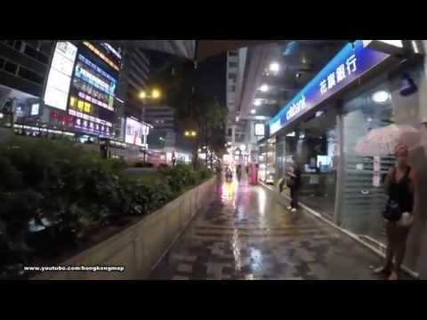 Hong Kong Two Hours Walking on Nathan Road in a raining night