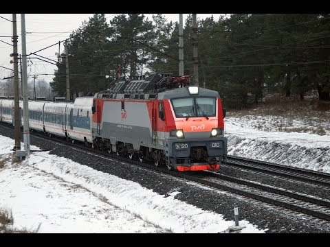 """Electric locomotives EP20 008 and 010 with trains """"Strizh"""". Station Seima of the Gorky railway"""
