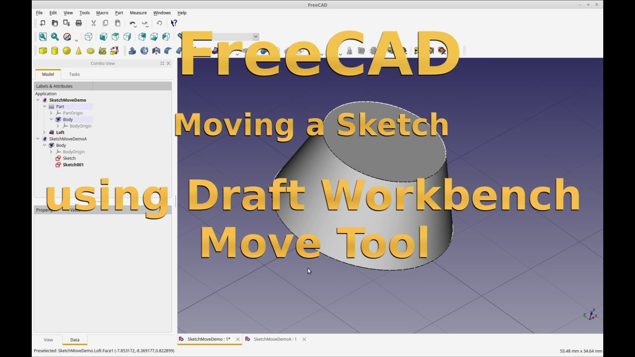 FreeCAD - Move a Sketch with Draft-Move ( Secret Trick Enclosed )