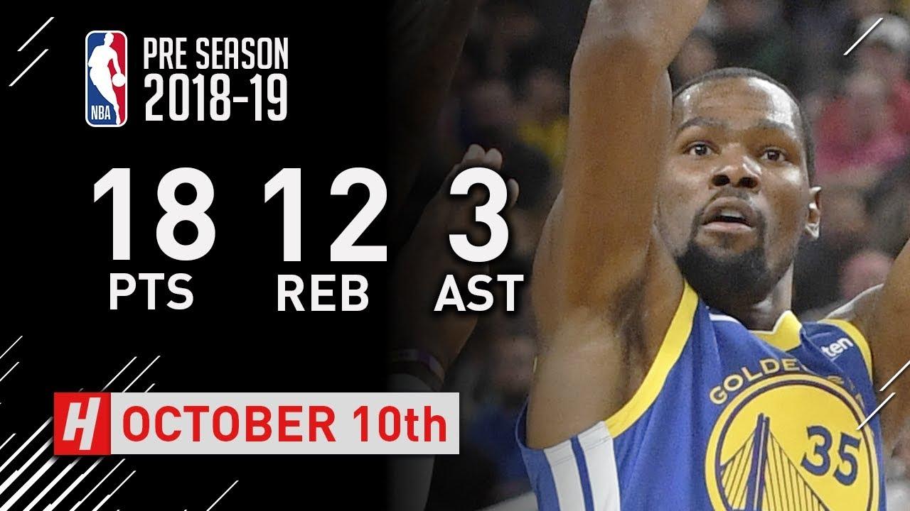 ba14314ecf8 Kevin Durant Highlights Warriors vs Lakers - 2018.10.10 - 18 Pts