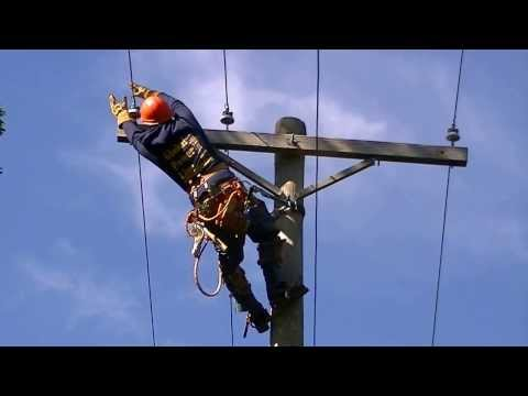 climbing 45ft pole with jelco safety belt