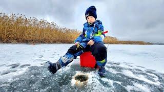 Сын на зимней рыбалке первый раз Что он поймал Рыбалка с сыном