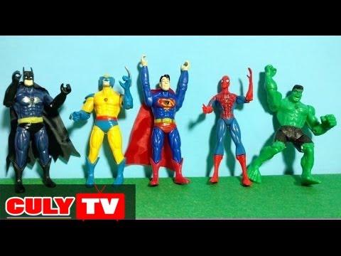 Bộ đồ chơi 5 siêu anh hùng người nhện spiderman, siêu nhân superman, người dơi batman, khổng lồ xanh