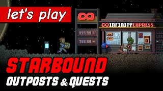 How to find outposts, get quests and buy fuel in Starbound Upbeat Giraffe update | ep 17
