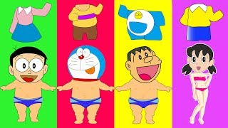 Colors for Kids to Learn Wrong Clothes Baby Crying Doraemon Nobita Xuka vs Chaien Finger Family Song