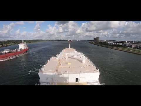 Tanker ship visiting port of Rotterdam | GoPro HD
