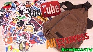 Наклейки и спортивная сумка посылка из Китая с сайта Аliexpress