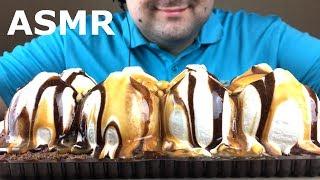 ASMR DESSERT ICE CREAM CAKE (Chocolate, Caramel, Peanut) Relaxing Eating Sounds