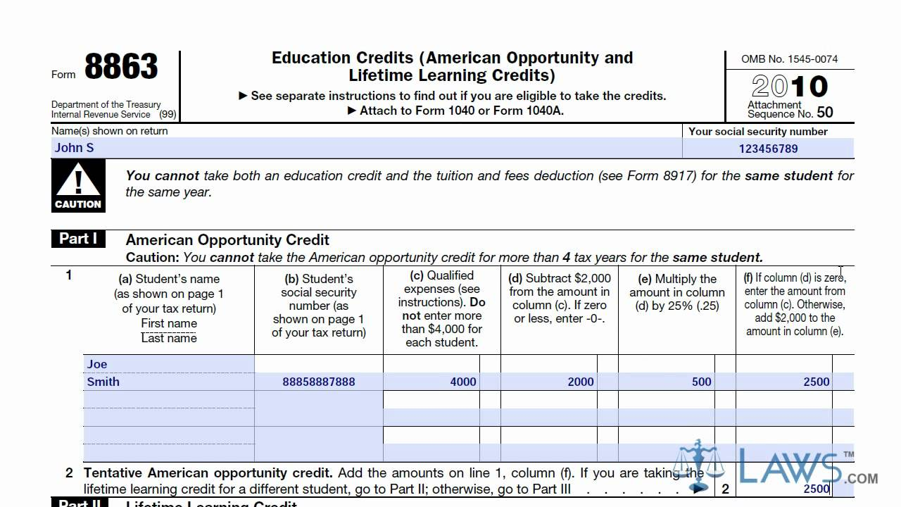 Worksheets Irs Credit Limit Worksheet learn how to fill the form 8863 education credits youtube
