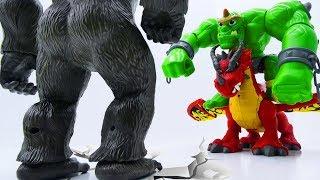 Power Rangers & Marvel Avengers Toys Pretend Play   KING KONG vs GIANT & DRAGON