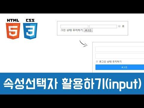 [중급이론] 속성 선택자(input) - HTML+CSS+JQUERY 실전 이론
