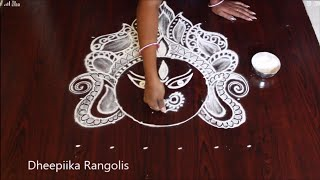 Durga matha rangoli design with 6x6 dots l how to draw durga maa face l navarathri muggulu