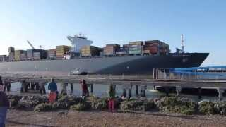 Huge Cargo Ship Leaves San Francisco  ( HD )