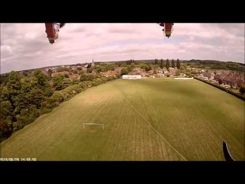 Octocopter Altitude hold testing and free flight.