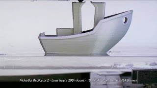 #3DBenchy 3D-printing on MakerBot Replicator 2  high-res time-lapse video