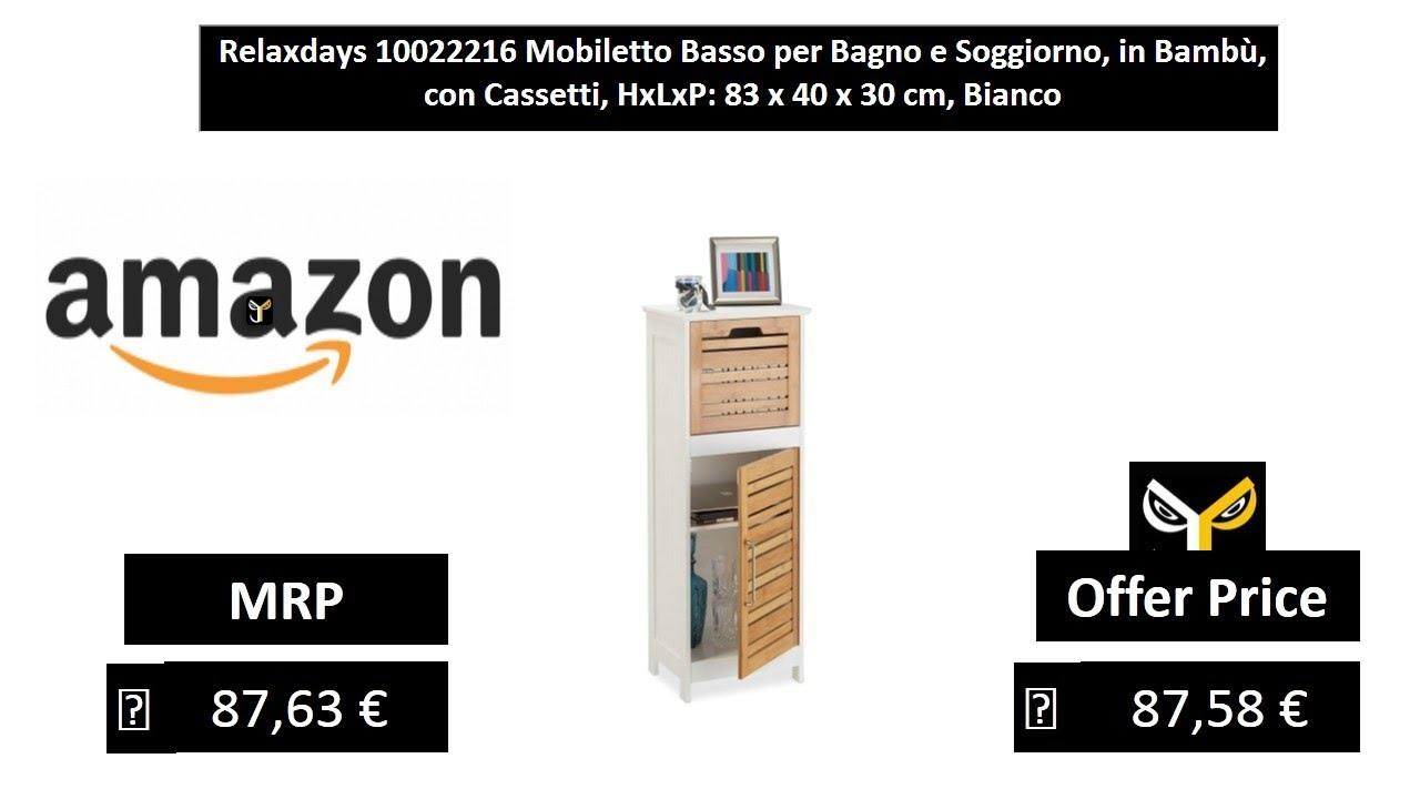 Relaxdays 10022216 Mobiletto Basso per Bagno e Soggiorno