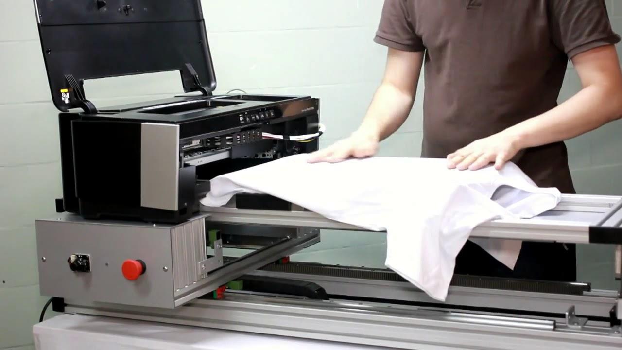 Планшетный принтер EPSON 1410 печать на футболке - YouTube