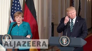 Phone-tapping claims in focus at Trump and Merkel meet