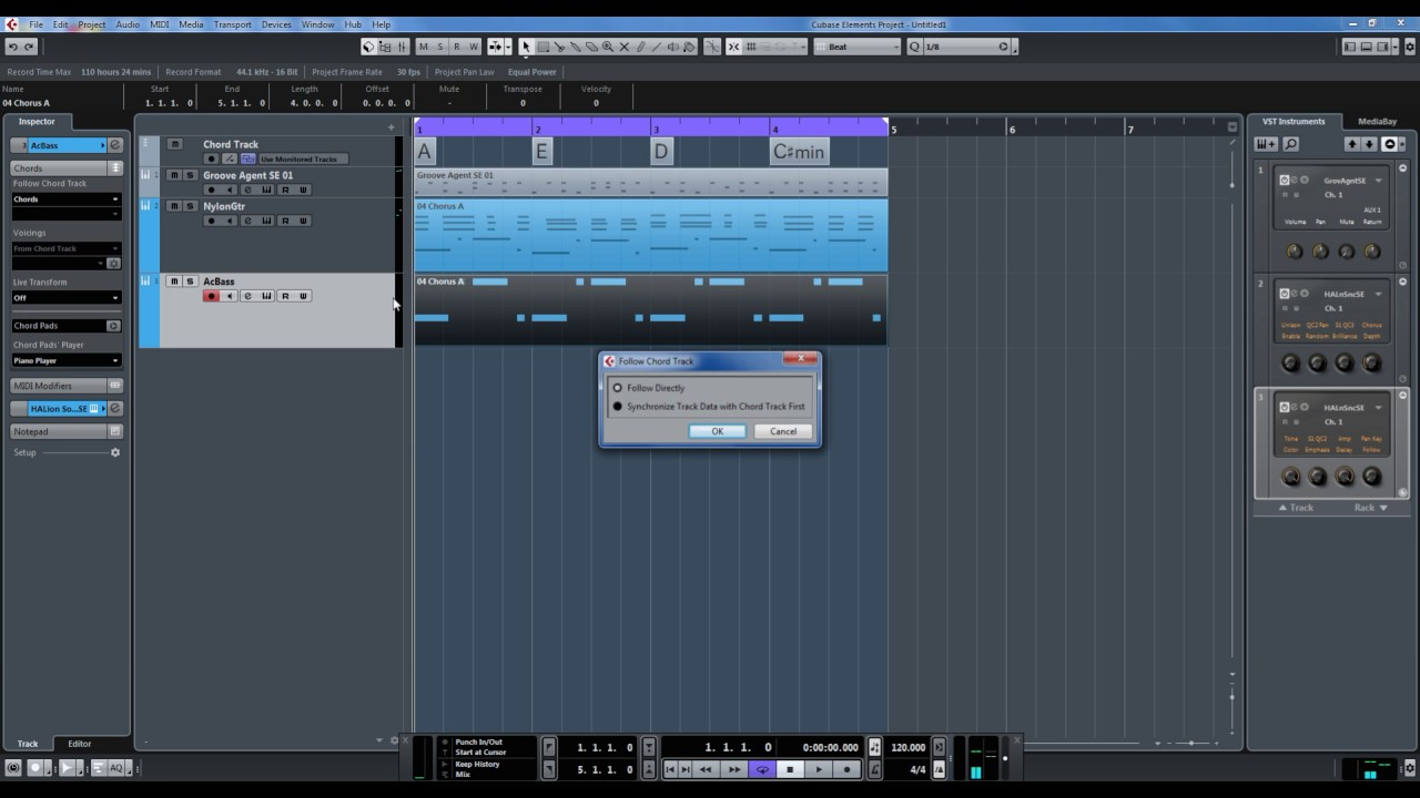 cubase elements chord track and midi clips follow chord changes youtube. Black Bedroom Furniture Sets. Home Design Ideas