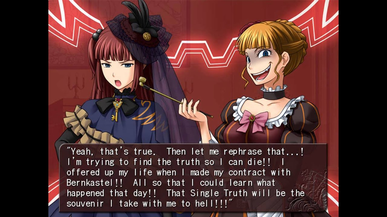 Umineko Chiru (EP8): lixAxil Duels - Furudo Erika vs Battler, Ange vs  Beatrice