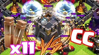 Clash Of Clans - 11 EARTHQUAKE SPELLS VS. CC