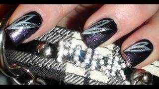 Gothic Punk Flower Nails - Nail Art Tutorial