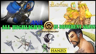 Overwatch || Characters Highlights || Ana, Bastion, Genji, and Hanzo || Skins on white background 2